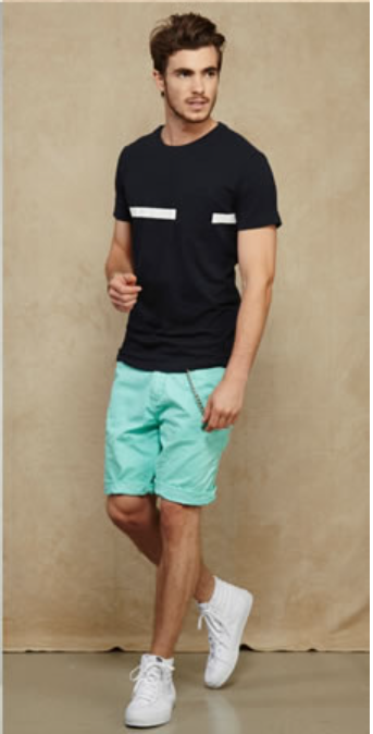 a61ce9dd1 green, celadon, mint, pistachio shorts, black t-shirt, tshirt lookbook,  outfit, summer, men