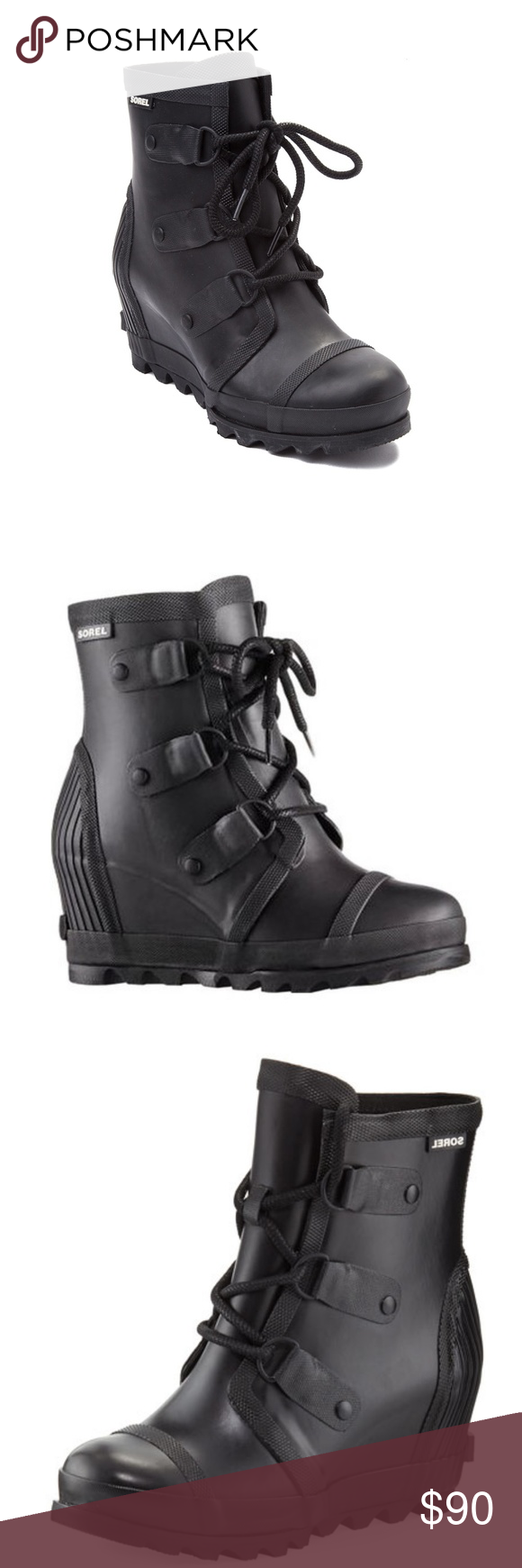 3b14d69a4b3 Sorel Black Matte Women s Joan Rain Wedge Boots Sorel Black Matte Women s  Joan Rain Wedge Boots