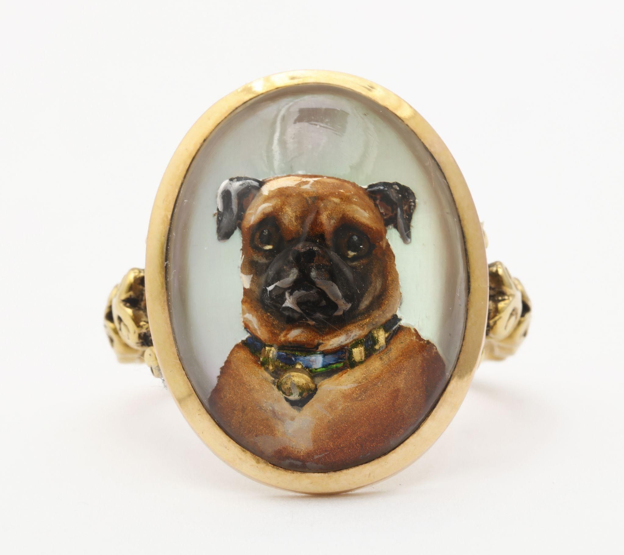 Love Is A Pug Victorian Reverse Crystal Canine Intaglio Dog