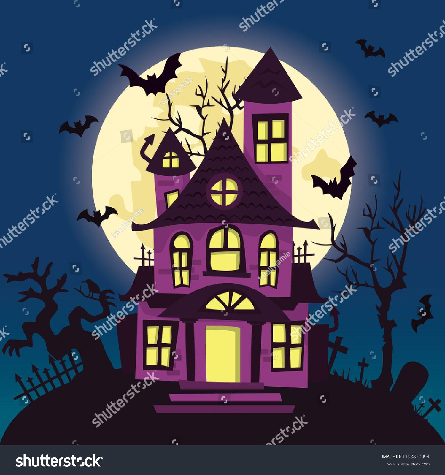 A vector illustration of a cartoon creepy haunted house on