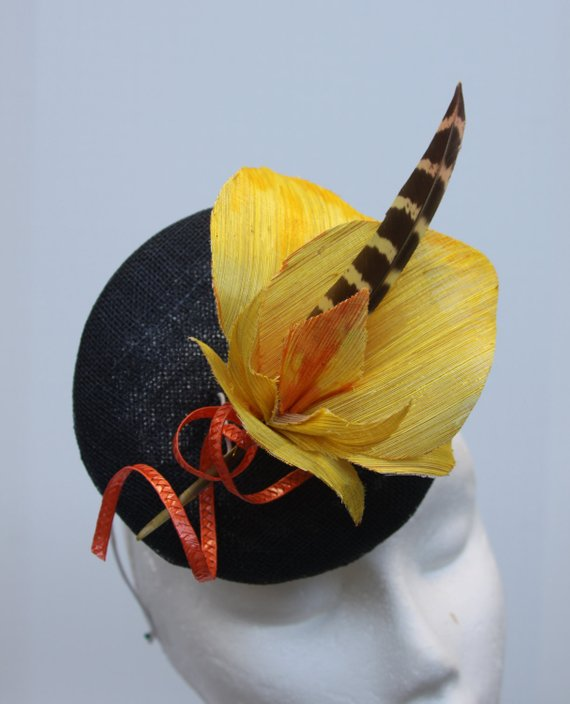 bd79e53bba7 MOE Contest Blue Hat Fascinator Yellow Orchid Headpiece Hand Blocked Luxury  Millinery Women Bridal