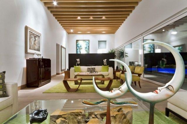 wohnideen raumlösungen-deko mondsichel wohnzimmer mit rustikal - wohnzimmer deko rustikal
