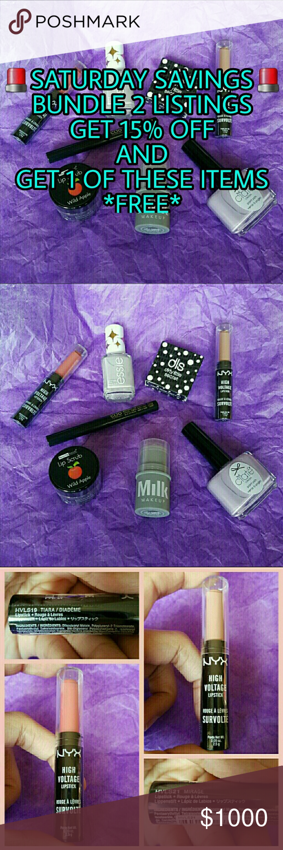 PICK YOUR FREE ITEM Various beauty items to choose from for SATURDAY SAVINGS!  Bundle 2 or more listings get 15% and 1 of these items (chosen by you) for FREE :) Makeup