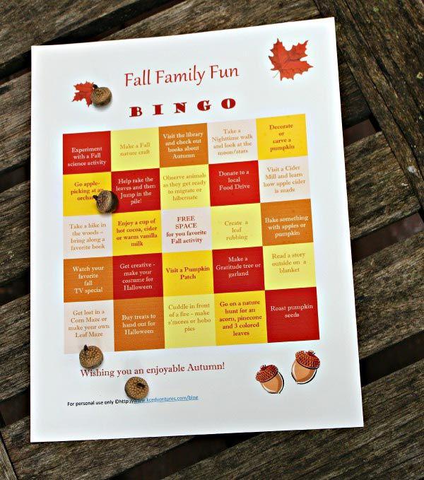 Fall Family BINGO 50 Fun Autumn Activities {w\/free printable - make a free printable flyer