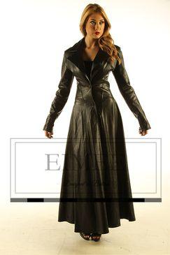 wide varieties official sale Clearance sale Ladies Black Leather Full Length Dress Coat Burlesque ...