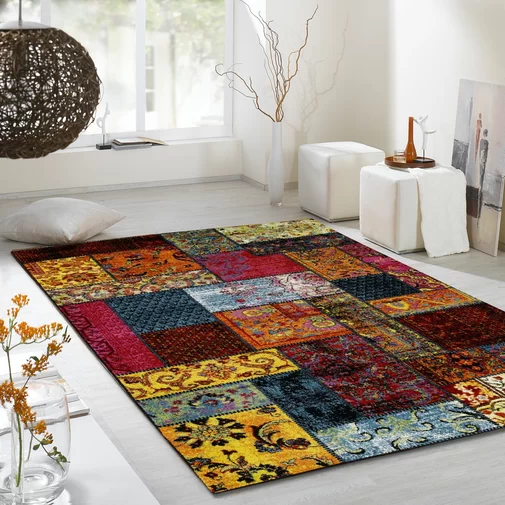 Jeanne Shag Red/Yellow Rug Yellow rug, Blue grey rug