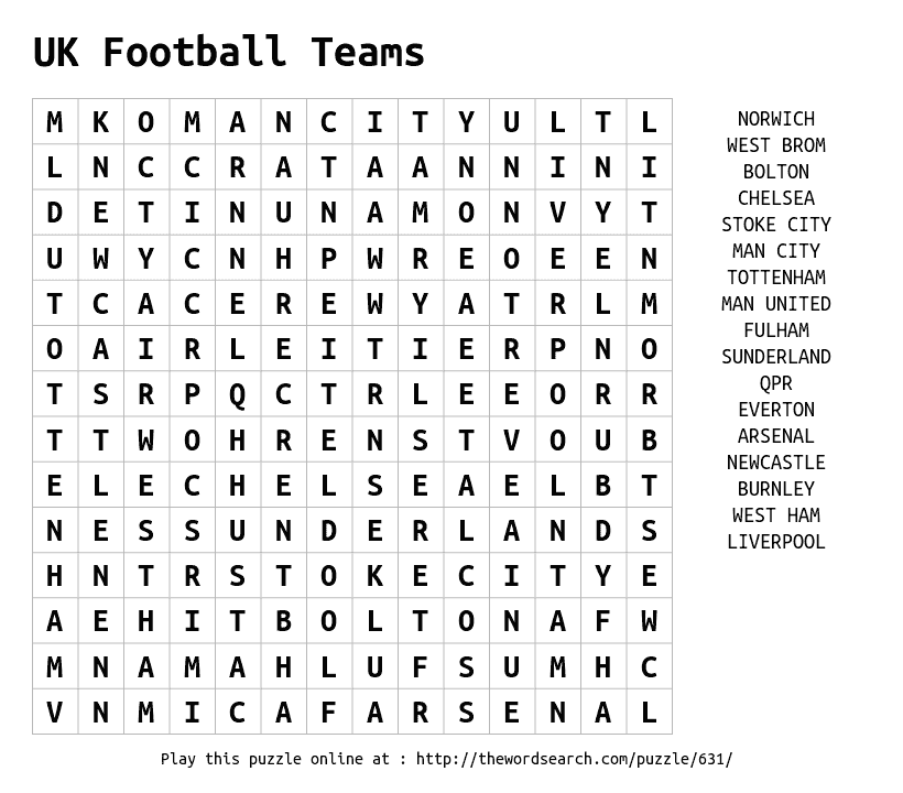 Play Word Search Puzzles On Line Including This One More At Https Thewordsearch Com Team Word Uk Football Teams Football Word Search