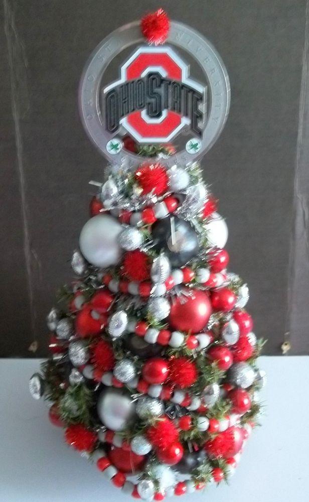 Decorated Christmas Xmas Tree Mini Tabletop Ohio State OSU New - Decorated Christmas Xmas Tree Mini Tabletop Ohio State OSU New