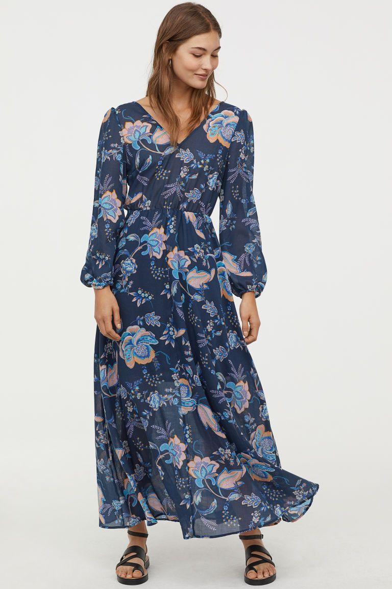 1fb87ecb9c92fe Maxi-jurk met V-hals - Donkerblauw bloemen - DAMES