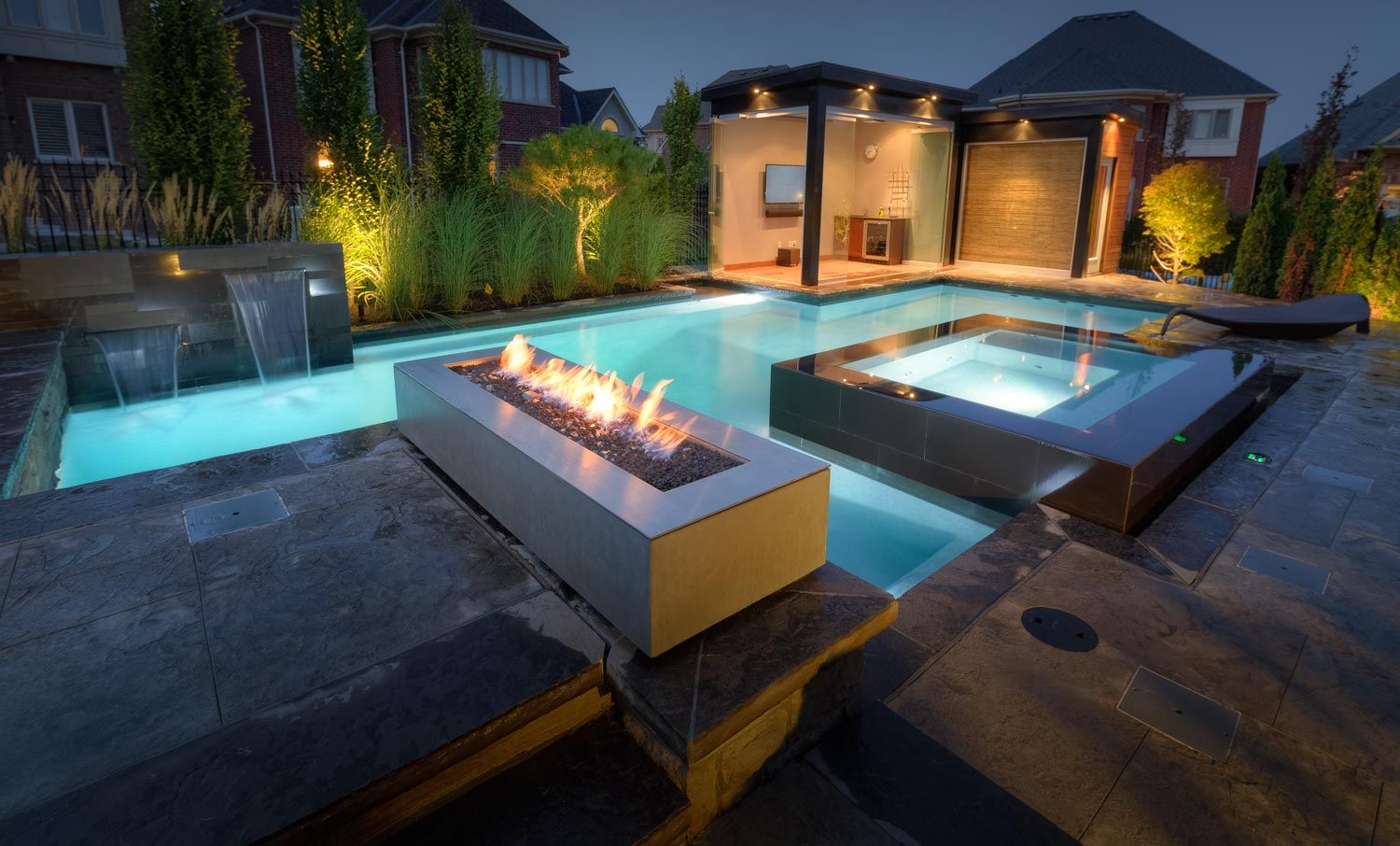 Robata Linear Outdoor Fire Pit In Graphite Modern Fire Pit