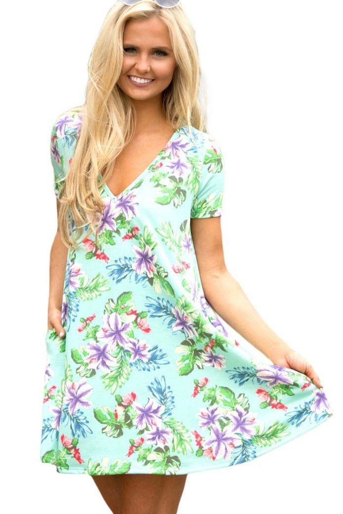 Pocket Design Summer Light Green Floral Shirt Dress https://www.modeshe.com