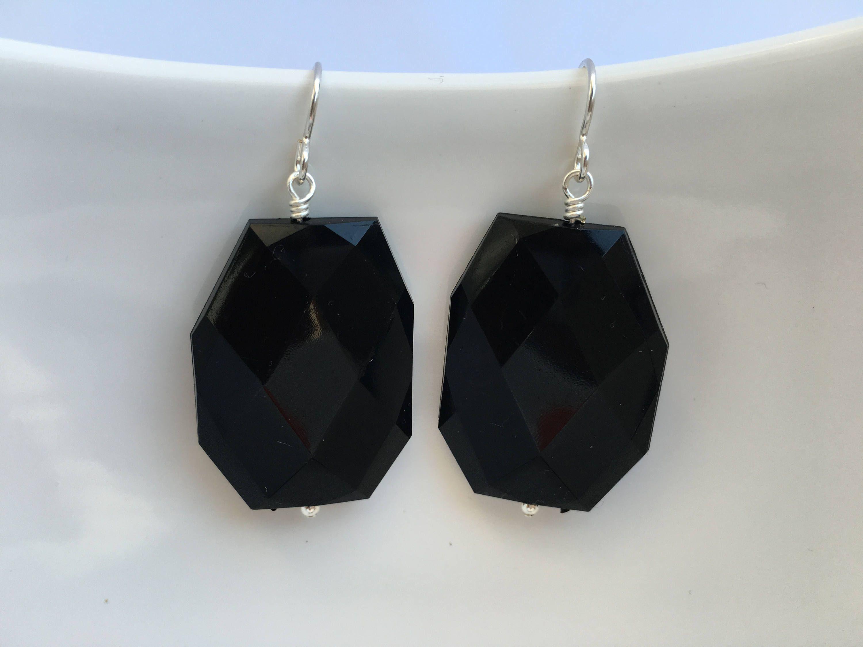 Black Statement Earrings Black Beaded Open Teardrop Earrings