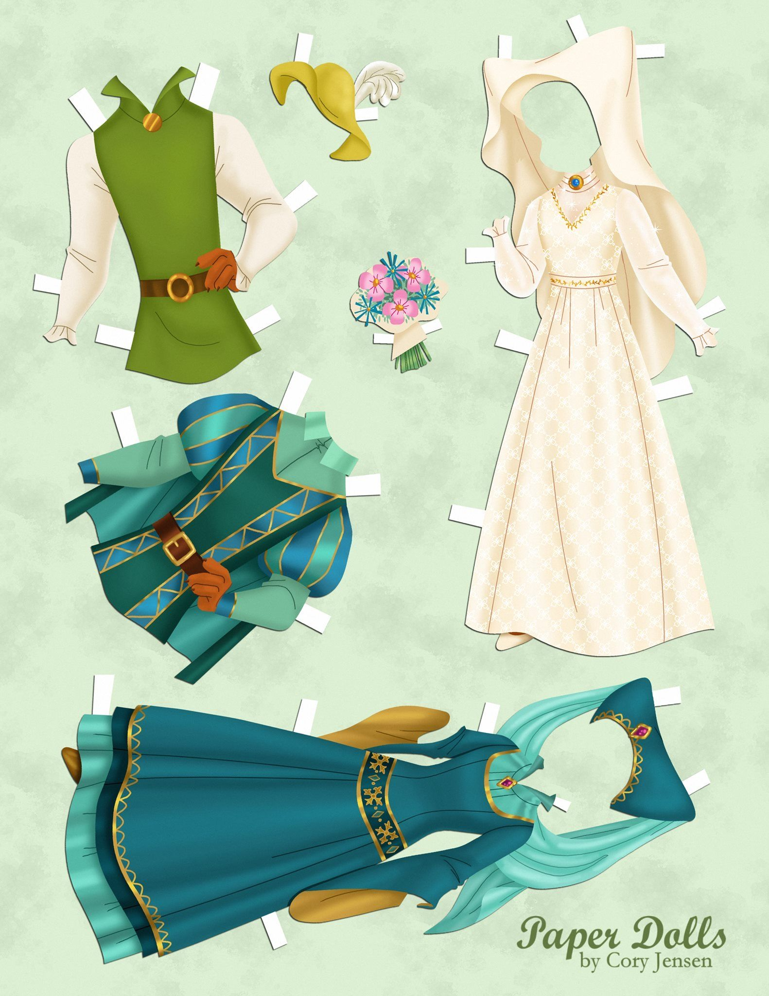 WD\'s Robin Hood and Maid Marian, paper dolls by Cory Jensen (2 of 3 ...