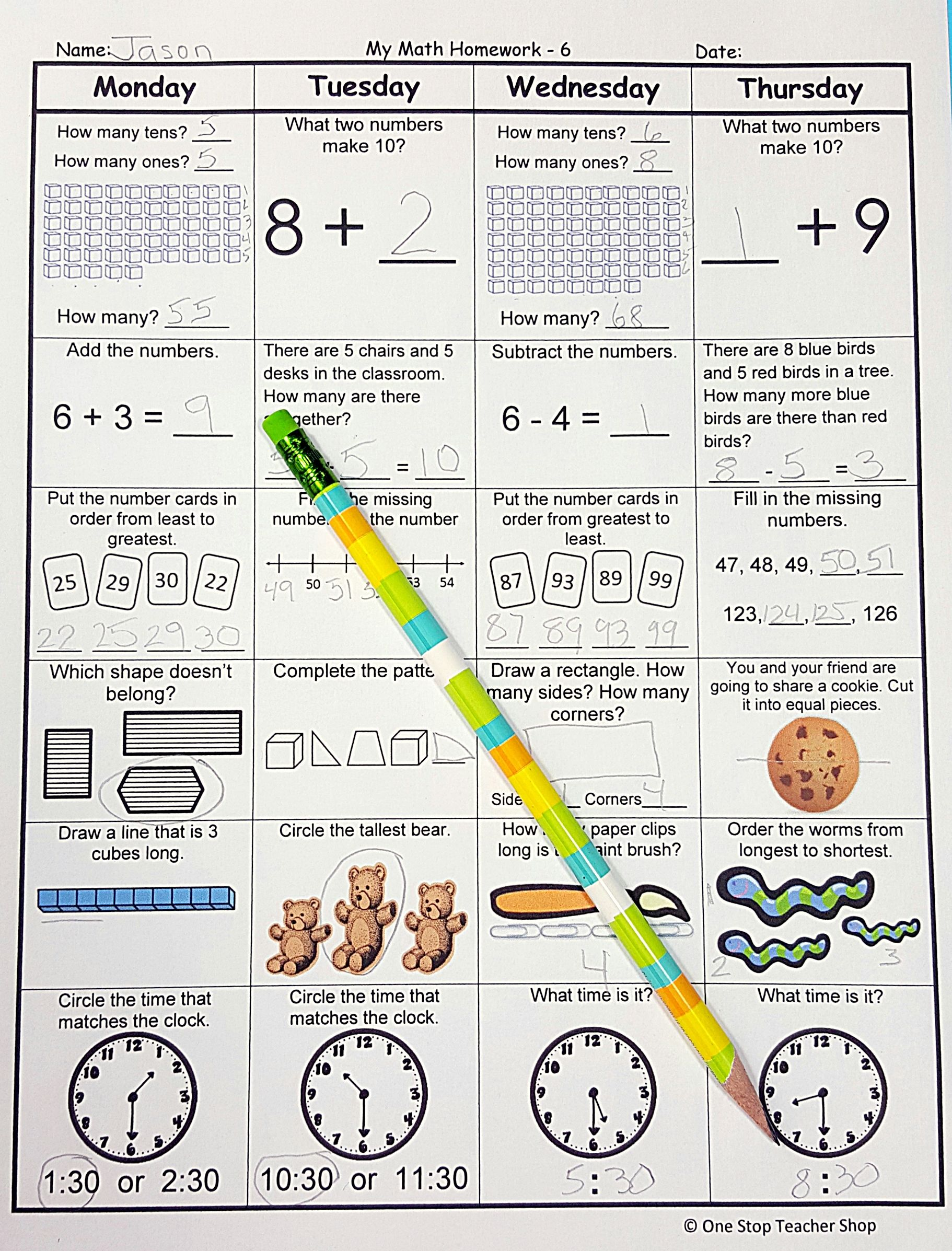 Worksheets Daily Morning Work 1st Grade 1st grade math spiral review homework morning work