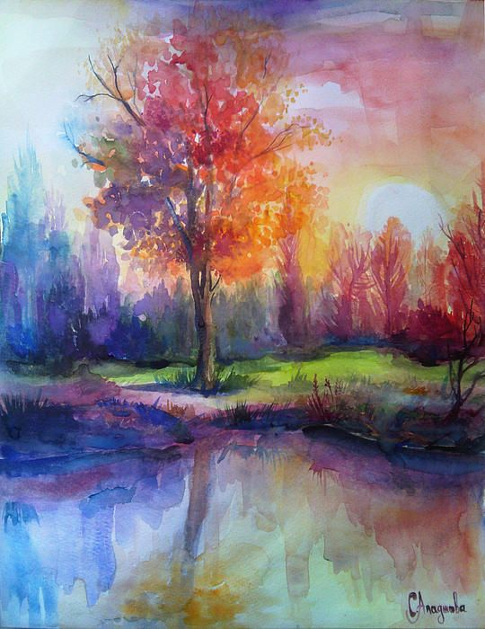 Sunrise Watercolor Nature Art Watercolor Paintings Painting