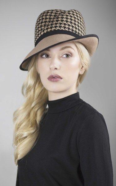 ca91f76a7f0a6 Pied-De-Poule Felt Fedora BY MAGGIE MOWBRAY  millinery  hats  HatAcademy