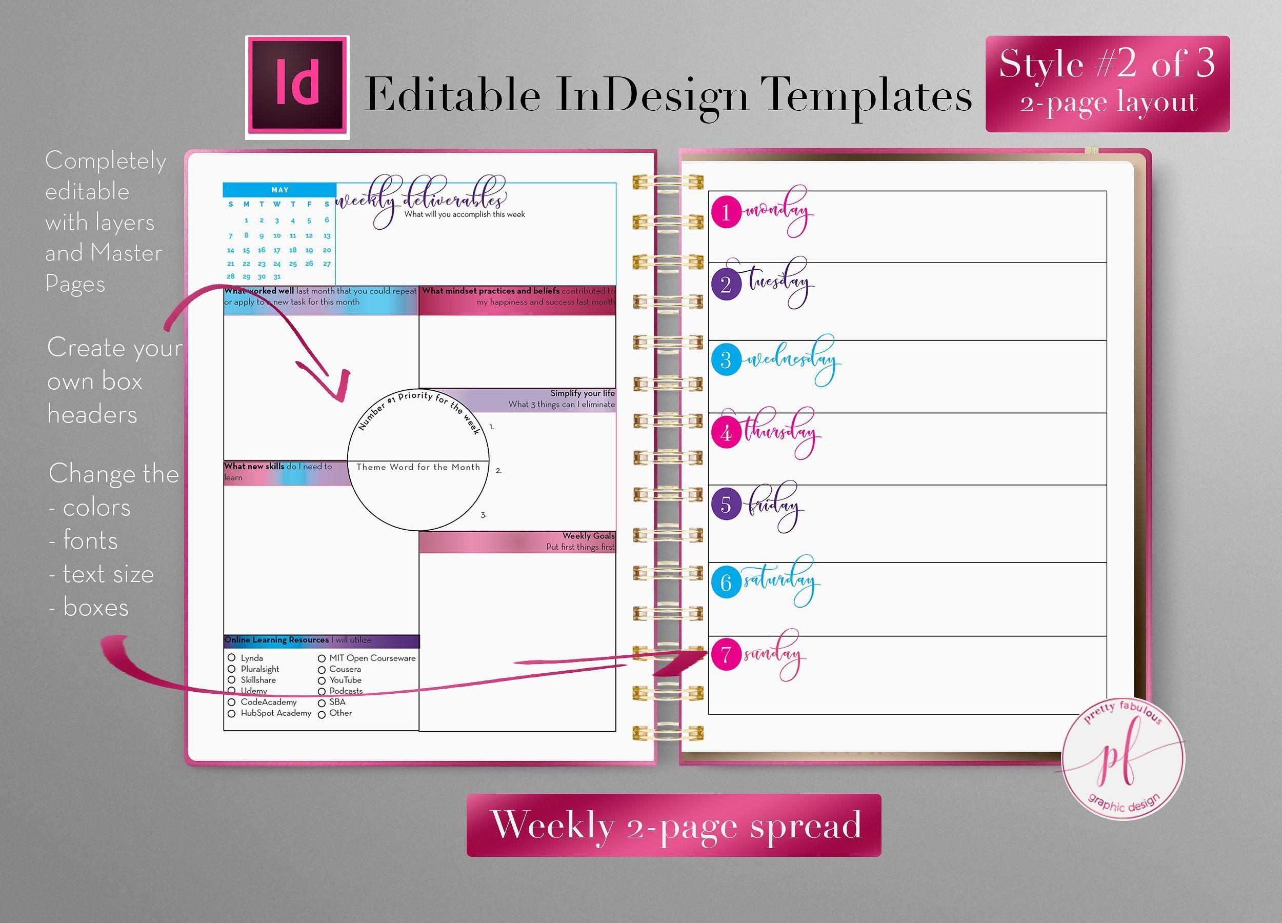 Weekly Calendar Indesign Template Indesign Templates Indesign