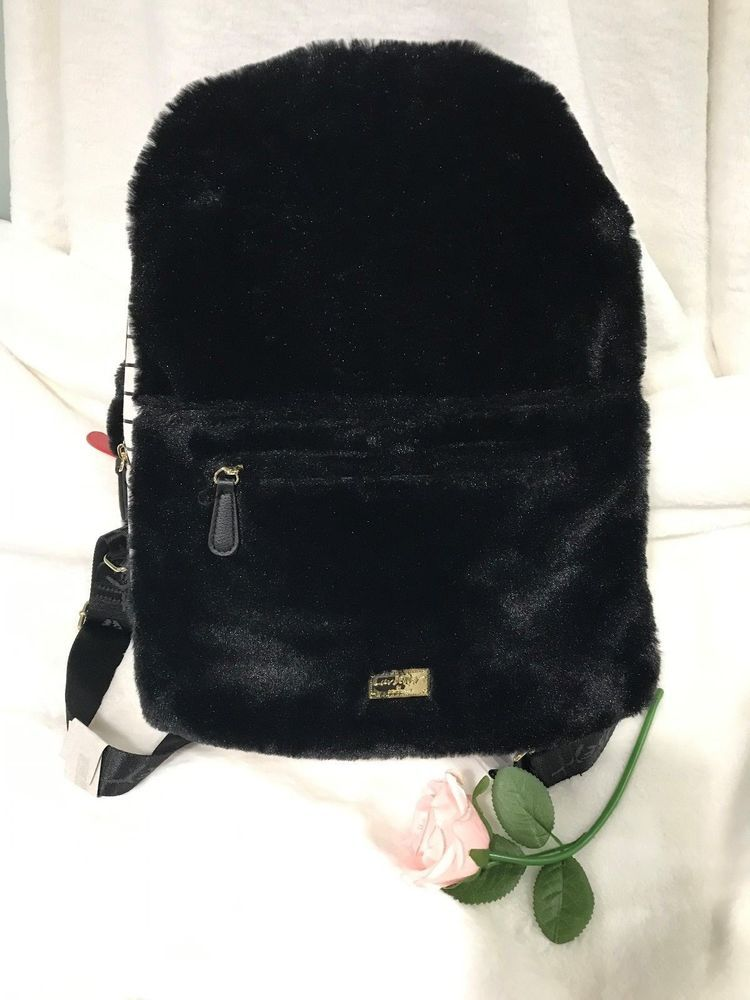 ee879d0e78bbf6 Luv Betsey Johnson Hooded Vampire Backpack Book Bag Black Fur Plush w/ Hood  NWT #BetseyJohnson #Backpack
