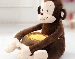 Puff Infantil Macaco Pelúcia- Novidade