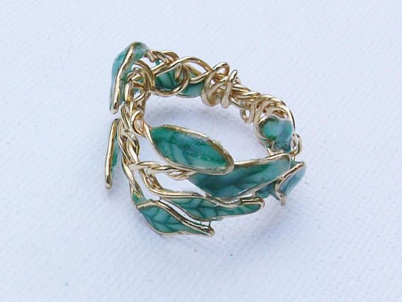 Green leaf ring, Leaf jewelry, Meaningful rings, Meaningful gifts ...