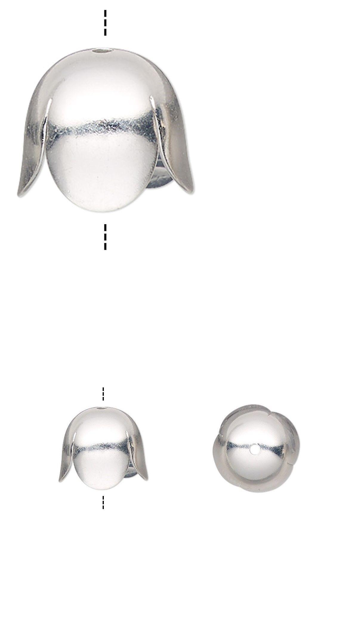 10 crimps silver matte 8 mm  crimp ends