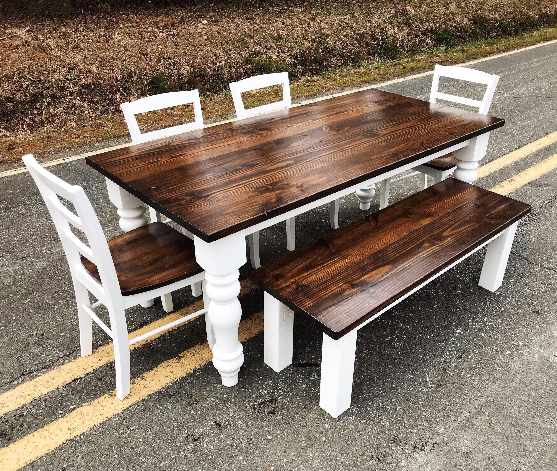 Chunky Leg Farm House Style Kitchen Table Pine Kitchen and