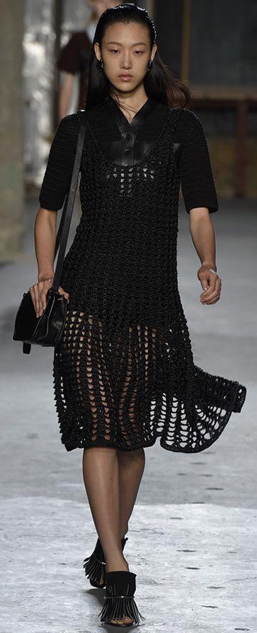 Proenza Schouler black crochet dress