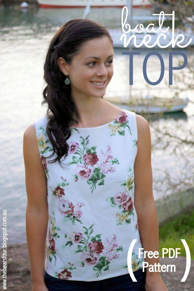 Free Boat Neck Top Pattern Tutorial (pdf download) // Patrón e instrucciones para hacer esta blusa (tiene botones atrás y va forrada)