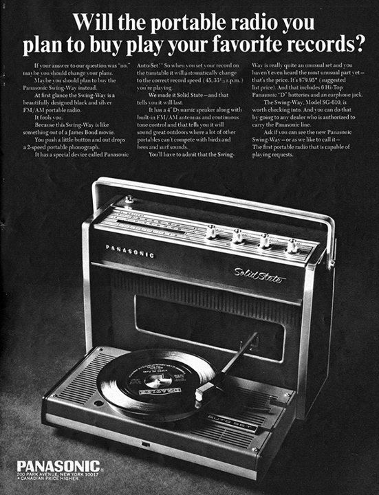 Panasonic Swing-Way Portable Record Player (1969).