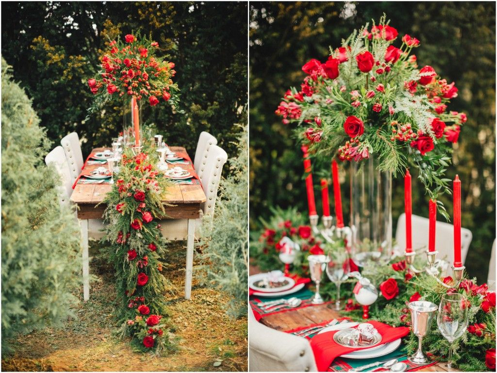 Lush Holiday Tablescape In Beautiful Outdoor Setting Christmas