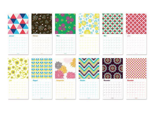 Wandkalender - Wandkalender 2015 mit maplepaper Mustern - ein Designerstück von maplepaper bei DaWanda