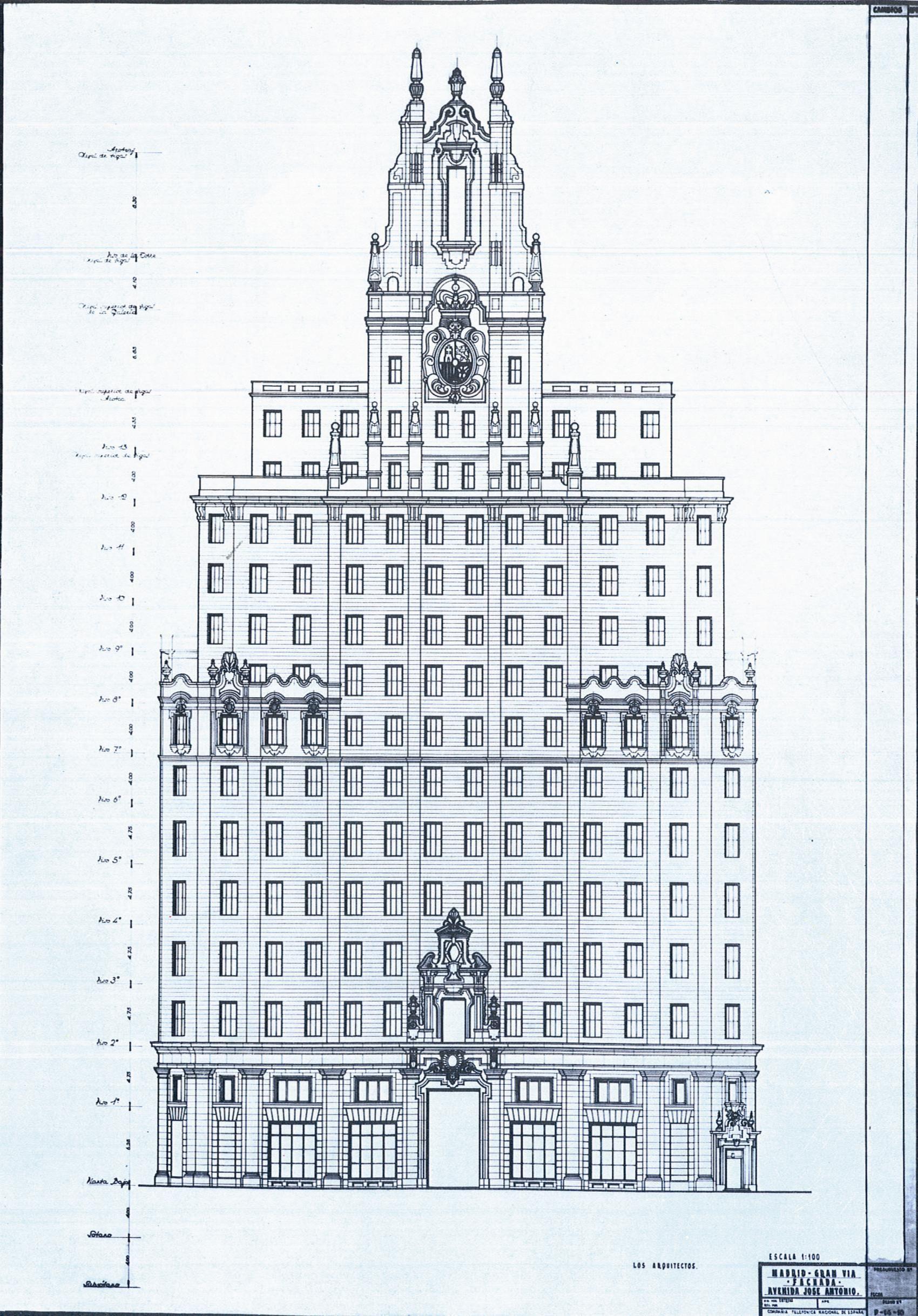 Gran va plano del edificio telefnica arquitectura pinterest gran va plano del edificio telefnica malvernweather Choice Image