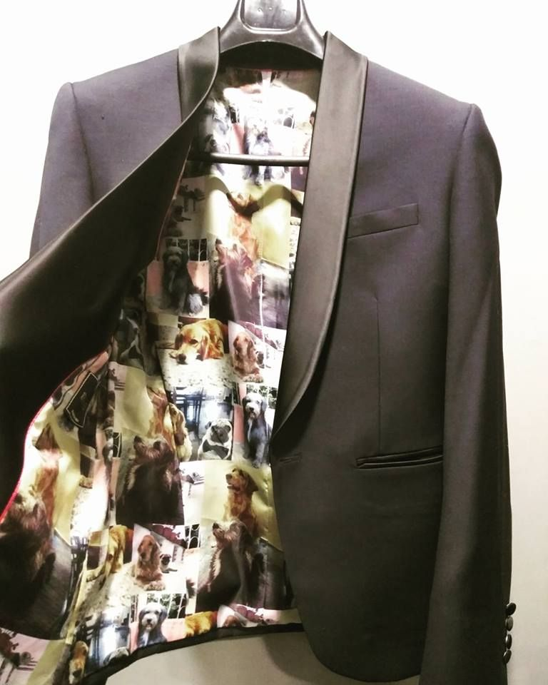 When your love for dogs makes it's way to your suit!  #108bespoke #customizedclothing #printedlinings #doglovers #dogprints #suits #trending #tuxedos #lovefordogs #mensfashion #mensstyling #menswear #prints #customprints #letyourstylebespoken