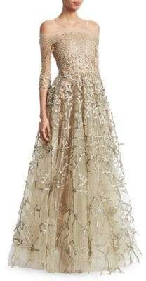 5a09eb10e95ad Oscar de la Renta Women's Off-The-Shoulder Metallic Embroidery Mesh Ball  Gown
