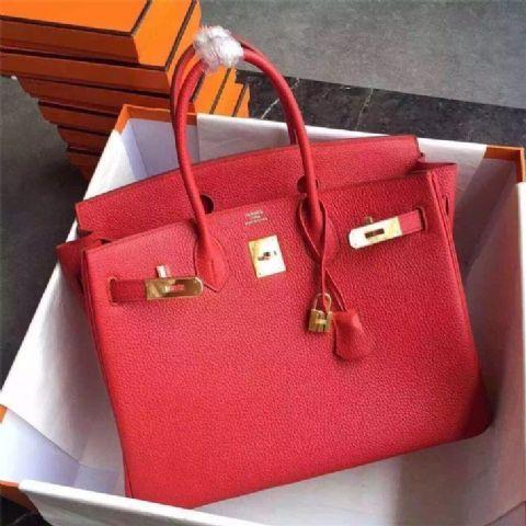 Hermes Birkin 30 35 Bag in Original Togo Leather Bag Red  4e959943a3ae0