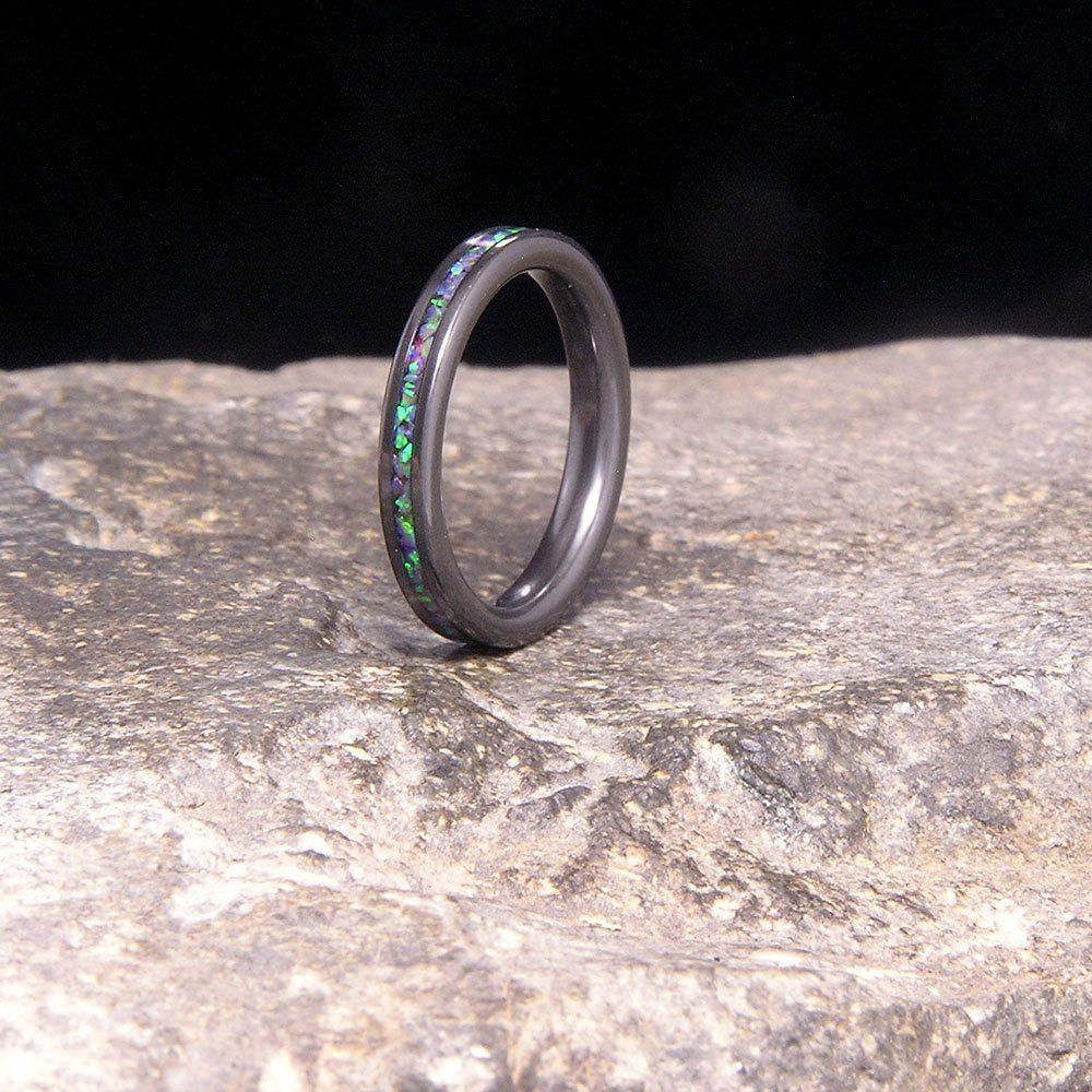 Crushed Lab Opal Inlay Black Zirconium Wedding Band or
