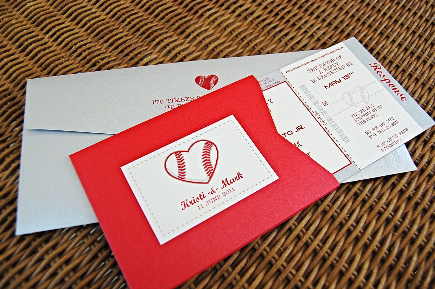 Baseball heart invitations response card holder | Softball ...
