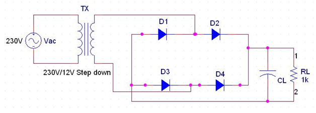 Bridge Type Full Wave Rectifier Circuit