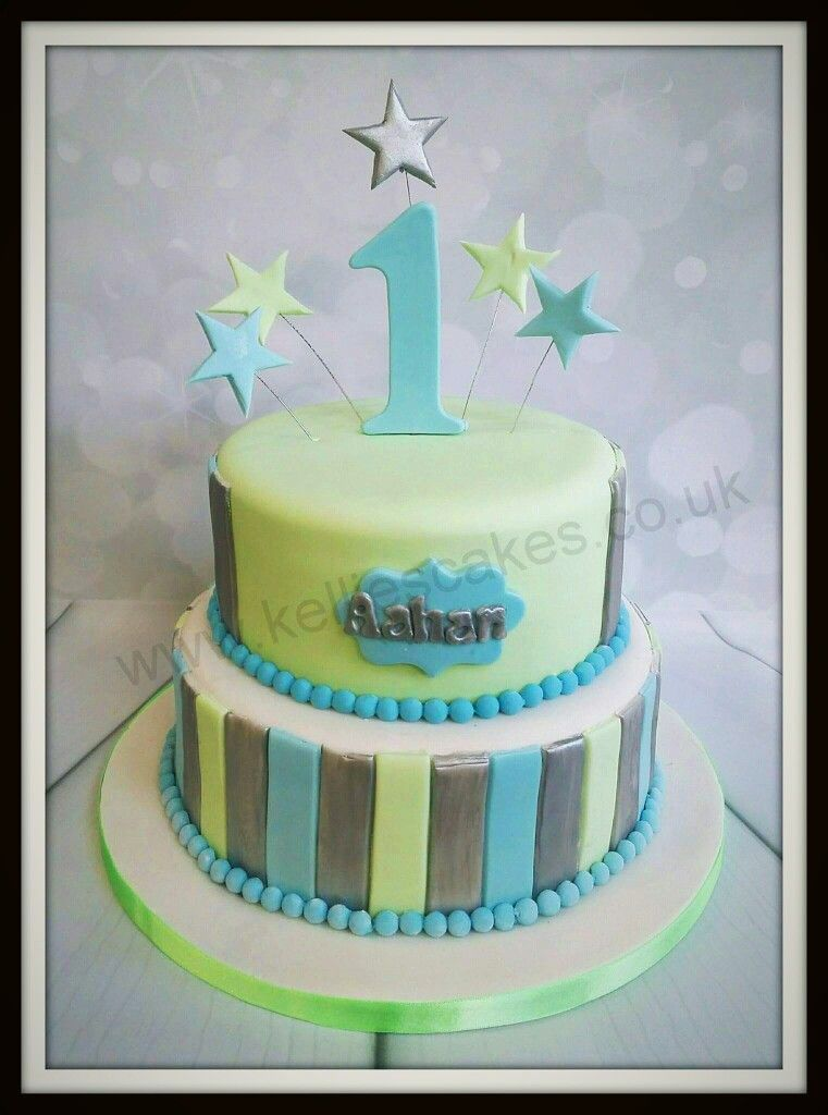 1st birthday cake for a little boy, in a baby blue, mint