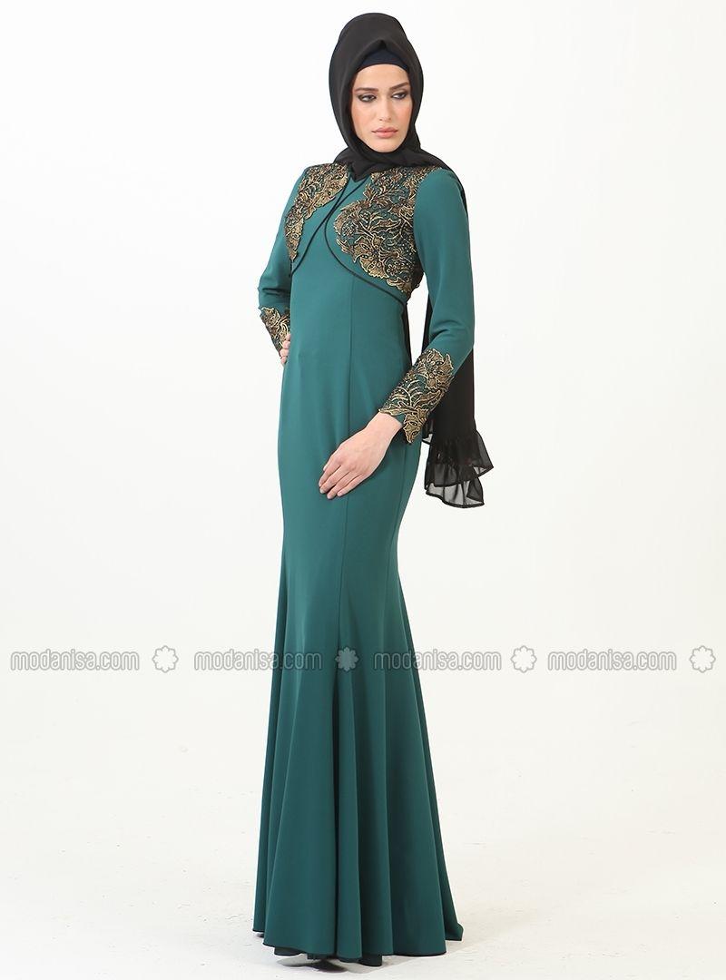 Tulip Patterned Foil Basque Abiye Dress - Green - Muslim Evening ...