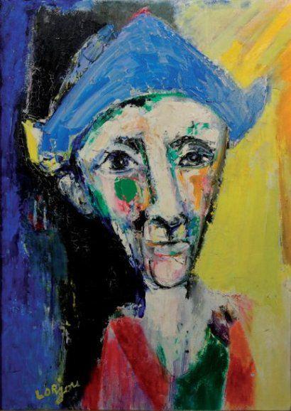 BERNARD LORJOU (1908-1986)  Arlequin, circa 1950. Peinture à l'huile, oeuvre unique signée en bas à gauche. 63 x 90 cm à vue. Quelques craquelures côté haut gauche. Mais couleurs fraîches. Encadrée. Provenance : Galerie A. Gattlen, Lausanne. Porte l'étiquette de la galerie au dos, n° d'inventaire 2570, photo n°10570, exposition « Blanc et Noir » 11 / 12 / 64 - 15 / 3 / 65 n°31.