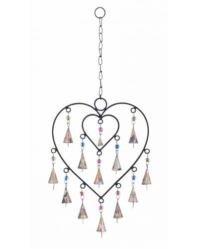 Heart Shape Metal Wind Chime -  It is made from metal and the frame is shaped like a heart with a smaller heart inside, almost as if it is a metaphor for your intertwined love with your special someone. This wind chime features beautiful conical bells that tinkle with the sweetest of sounds that will form the background of numerous midnight conversations.