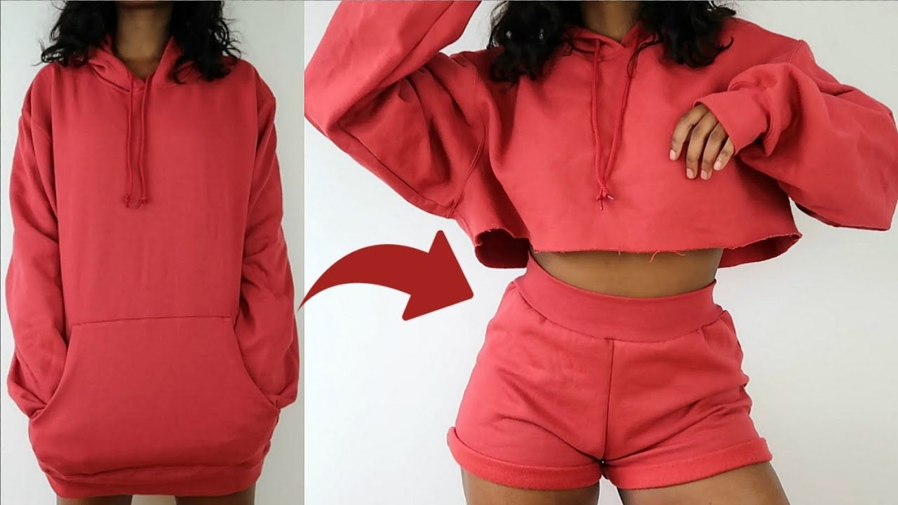 Transforming 5 Oversized Hoodie Into Two Piece Lounge Set Diy Transfo Fashion Hacks Clothes Thrift Store Diy Clothes Refashion Clothes [ 720 x 1280 Pixel ]