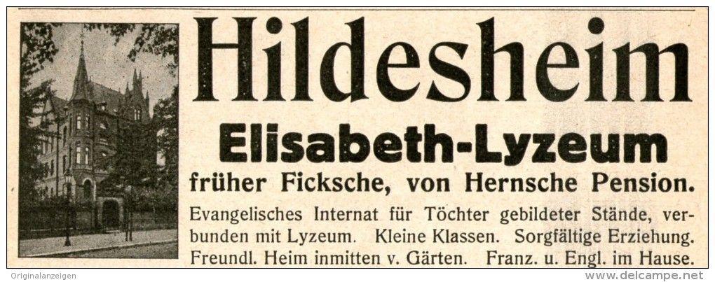 Original Werbung Anzeige 1914 Hildesheim Elisabeth Lyzeum