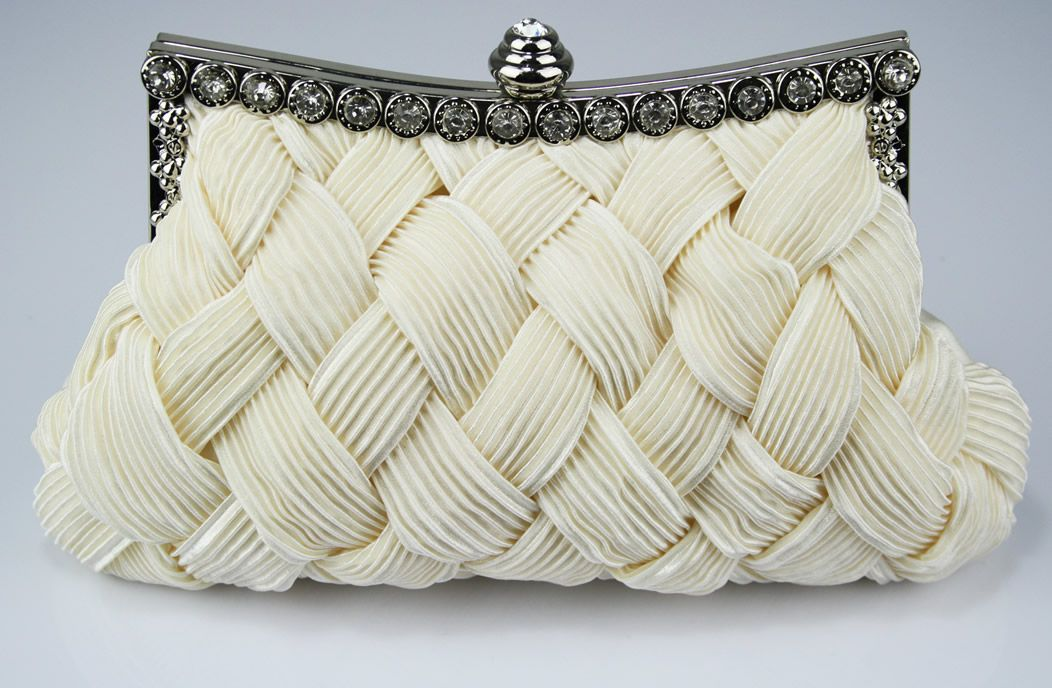 Ivory Crystal Evening Clutch Bag