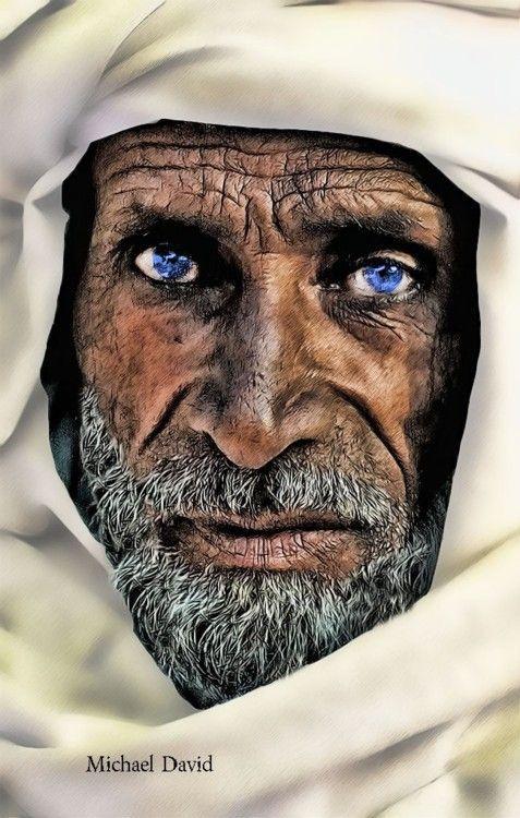 Arab Men With Blue Eyes Deep Wrinkled