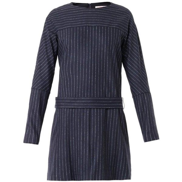 SEE BY CHLOÉ Pinstripe wool-blend dress (780 BRL) ❤ liked on Polyvore featuring dresses, navy multi, navy long sleeve dress, see by chloé, see by chloe dress, longsleeve dress and navy pinstripe dress