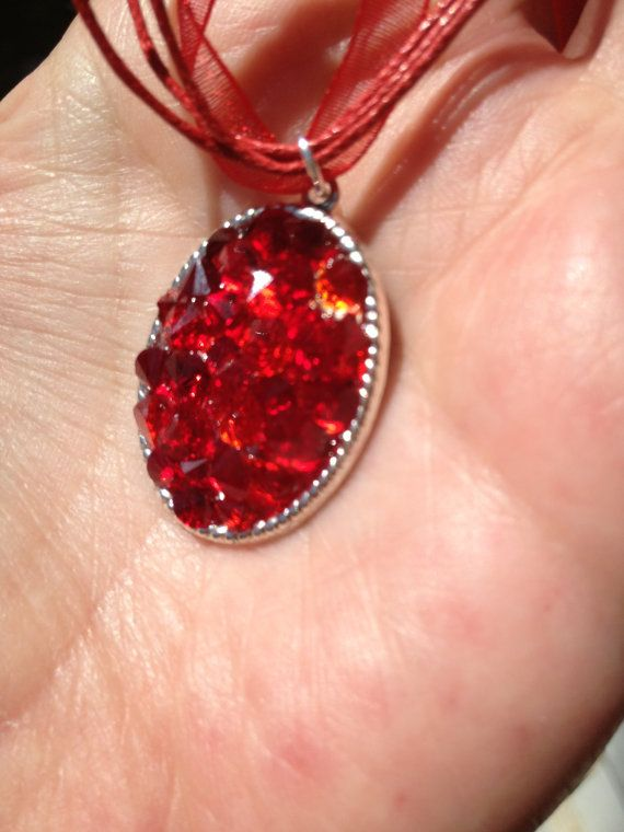 Red Organza and Crystal Chaton Necklace by mccoyblingandthings, $12.00