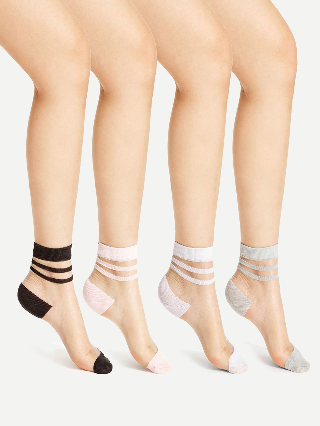 9887b08c5ab Striped Cuff Sheer Ankle Socks DETAILS Style   Casual Material   Nylon  Pattern Type   Striped Color   Multicolor Length (cm)   29 7 cm Size  Available ...
