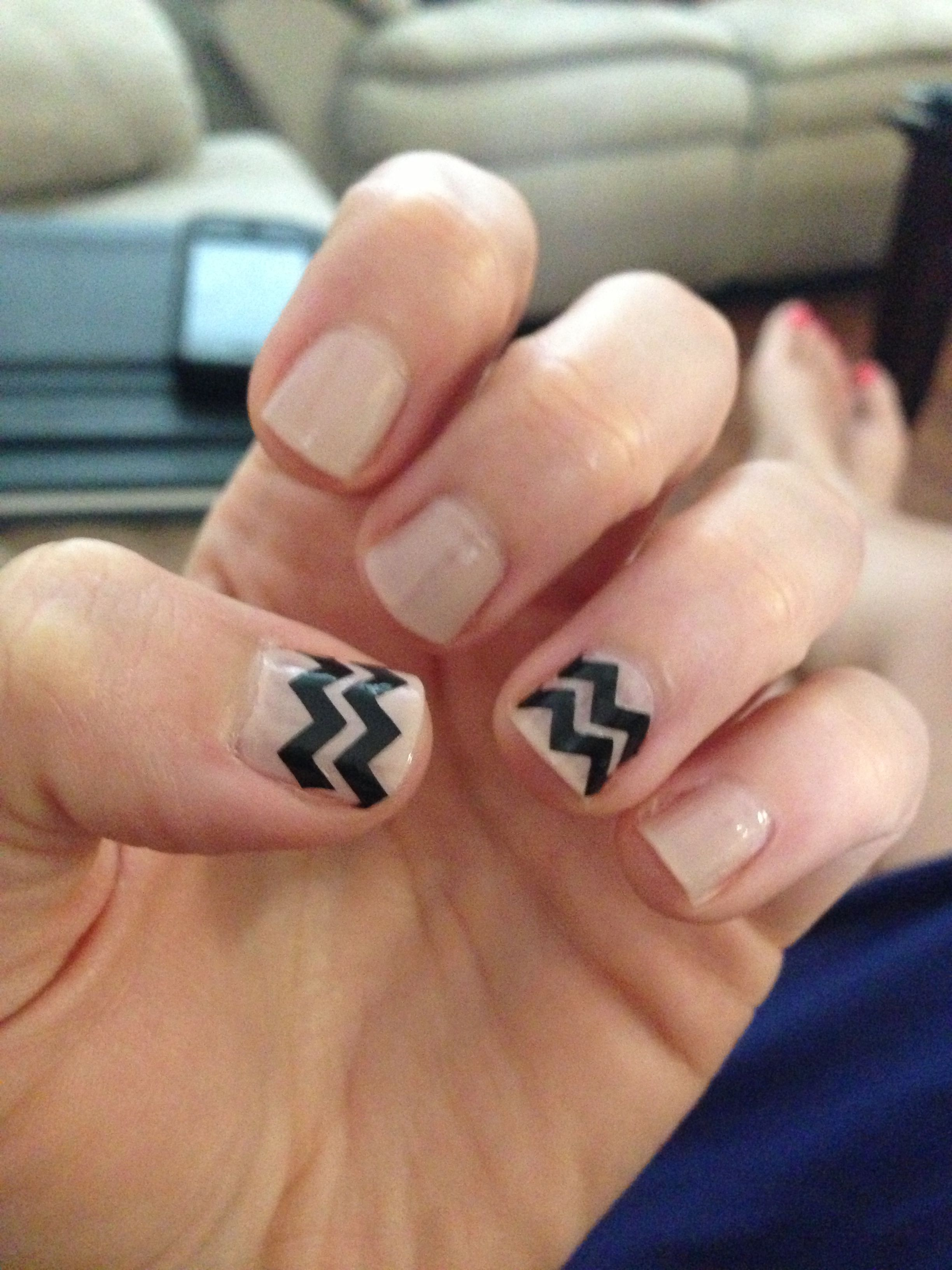 Nude chevron Nail art!